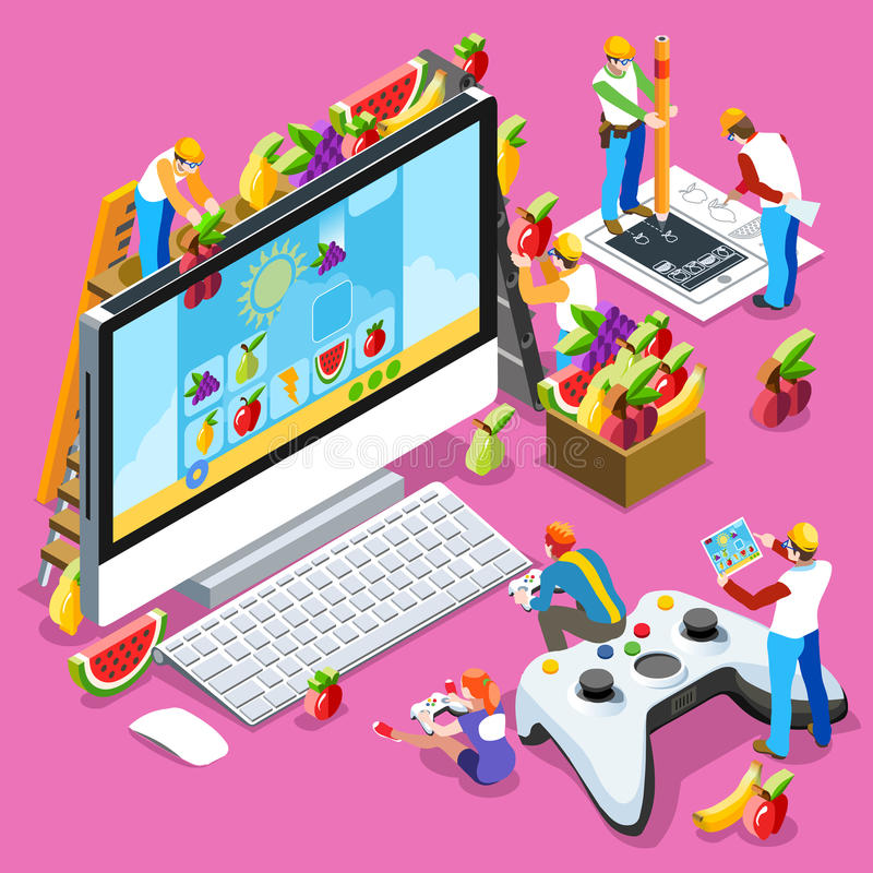 People Gaming Computer Video Game Isometric Vector Illustration. Video game UX development. Web gamer person gaming online with console controller android phone vector illustration