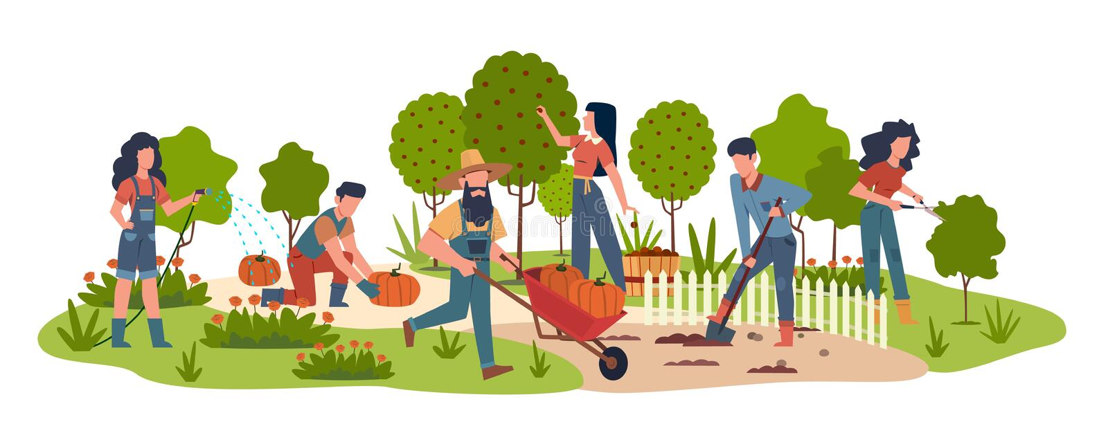 People in garden. Agricultural workers doing farming job harvesting with garden tools. Collecting fruits, watering. Vegetables vector seasonal work background vector illustration