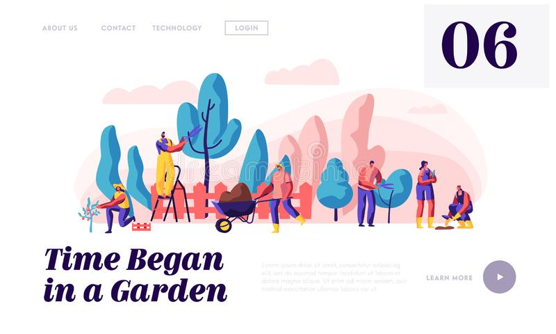 People Gardener and Farmer Work in Garden Landing Page. Man with Scissors and Secateurs Trimming Tree. Woman Harvest Apple stock illustration