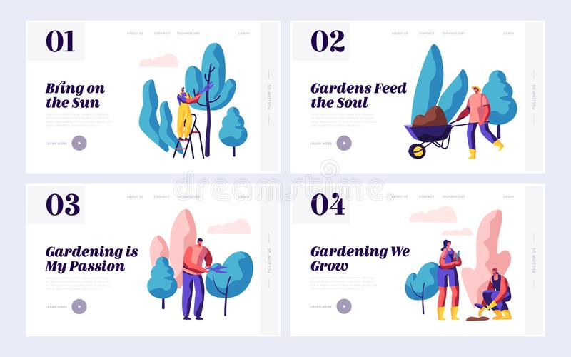 People Gardener Planting Nature Garden Set Landing Page. Woman Plant Tree with Shovel. Man Gardening with Secateurs, Wheelbarrow vector illustration