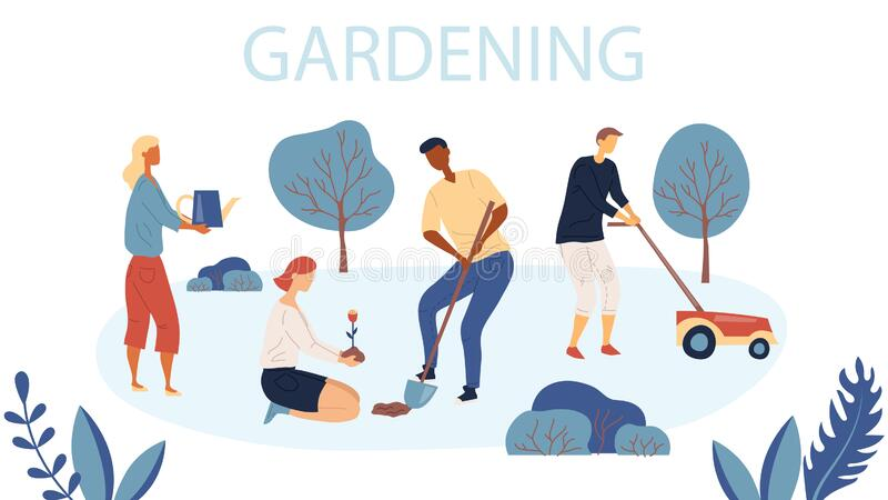 People Gardening. Woman and Man are Planting Gardens Flowers, Man is Mowing the Lawn. Agriculture and Garden Job royalty free illustration