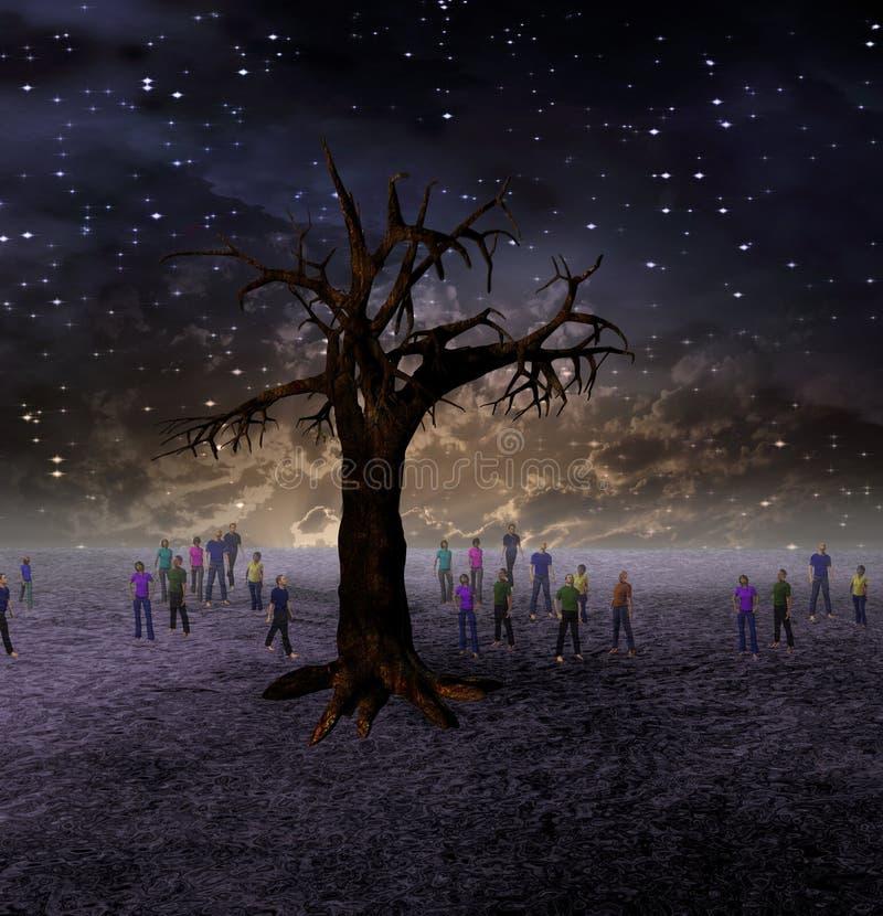 People Gather Around Large Tree royalty free illustration