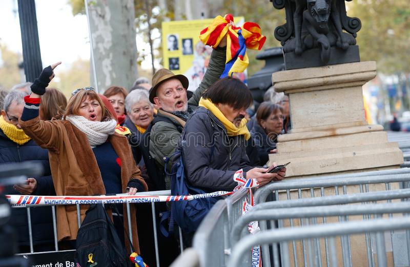 People gather outside Barcelona Catalan courtyard waiting thea arrival of President of Catalan Government Quim Torra. People gather outside Barcelona Catalan stock photos