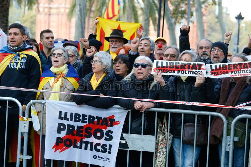 People gather outside Barcelona Catalan courtyard waiting thea arrival of President of Catalan Government Quim Torra. People gather outside Barcelona Catalan stock image