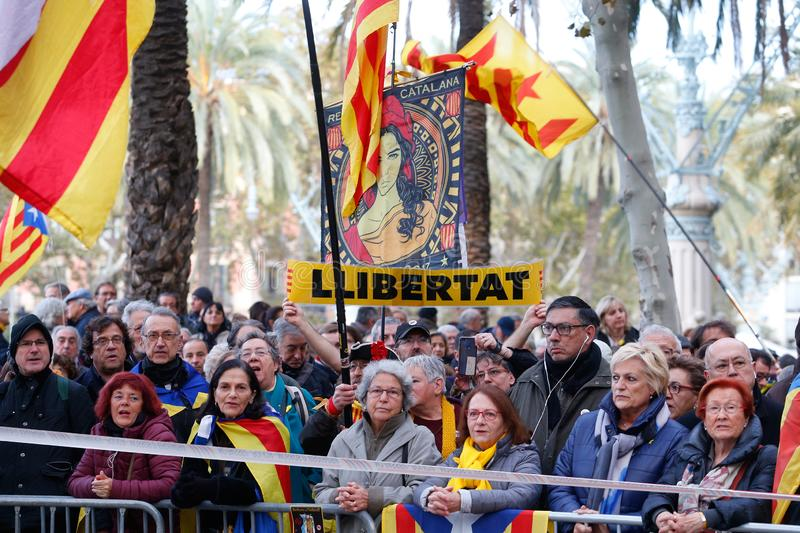 People gather outside Barcelona Catalan courtyard waiting thea arrival of President of Catalan Government Quim Torra wider. People gather outside Barcelona stock photo