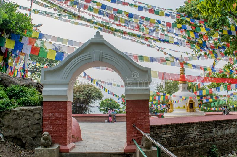 People gathered at the buddhist temple stock images