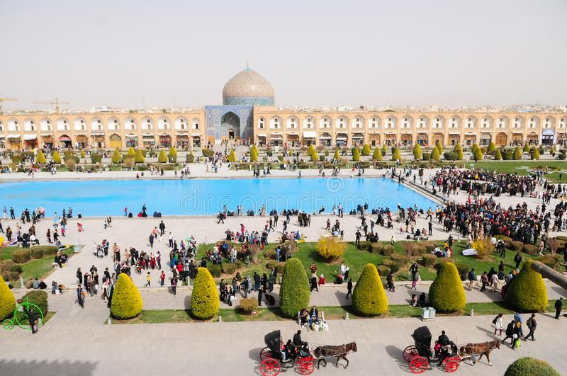 People gathered in Imam Square to celebrate the Iranian New Year. royalty free stock photo
