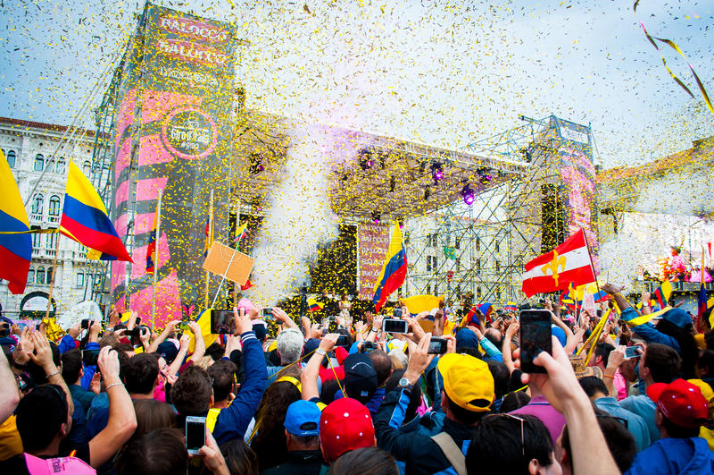 People gathered to celebrate nairo quintana winning italy tour, Trieste, Italy, 2014 royalty free stock photos