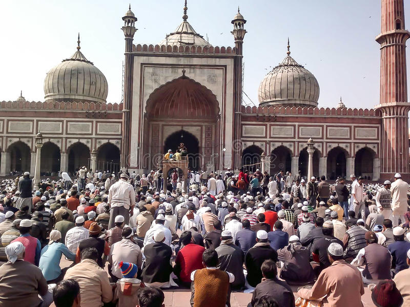 People gathering to offer Friday prayers royalty free stock photos