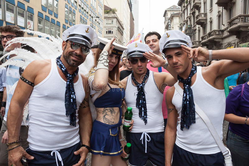People at gay pride parade 2013 in Milan, Italy stock photo