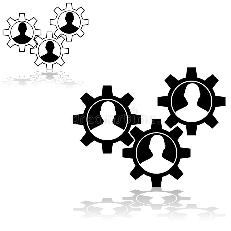 People gear. Concept illustration showing machine gear wheels with the outline of a person inside royalty free illustration