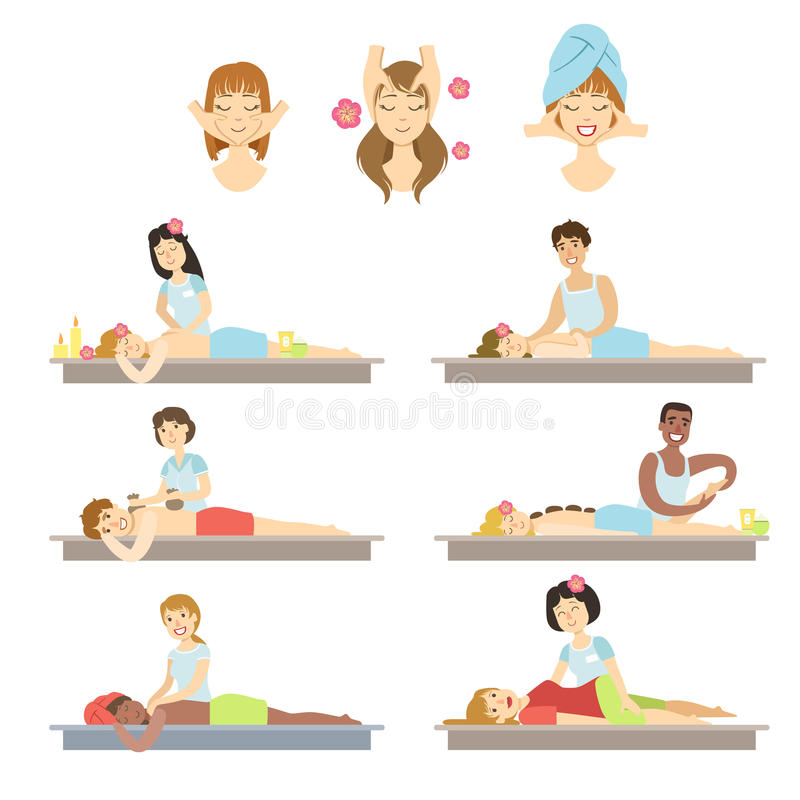 People Getting Facial And Body Massage In Spa. Flat Childish Cartoon Style Bright Color Vector Illustration On White Background royalty free illustration