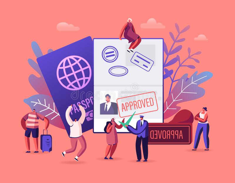 People Getting Visa Concept. Travelers and Tourists Making Document for Leaving Country and Travel Abroad stock illustration