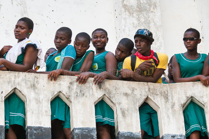 People in GHANA. GHANA, ACCRA - MARCH 2, 2012: Students from different Ghanaian schools visiting the Elmina Castle in Accra, Ghana, on March 2nd, 2012. Elmina royalty free stock image