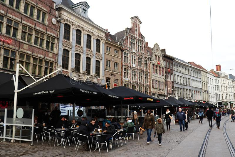 People  in Ghent, Belgium on a winter day stock images