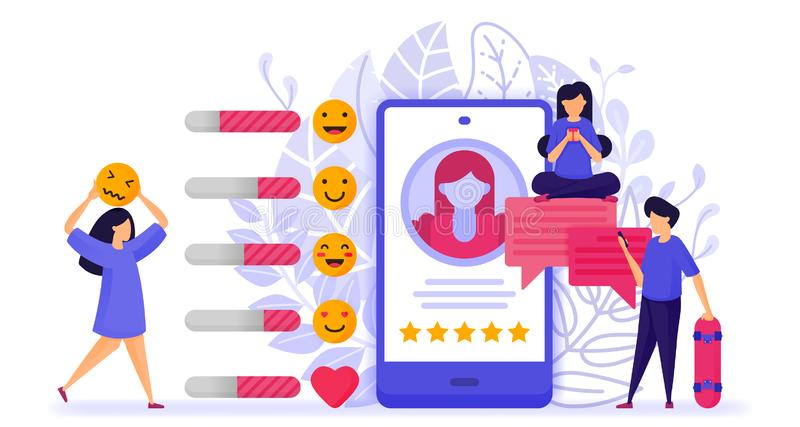 People give ratings and reviews on influencers profile. give star, respond with emoticon and comment to provide suggestion and sol. Ution. Vector Illustration stock illustration