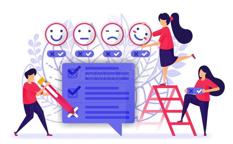 People give review and fill out questionnaires survey or exam for service or product. provide feedback with emoticon from customer. Experience. Vector stock illustration