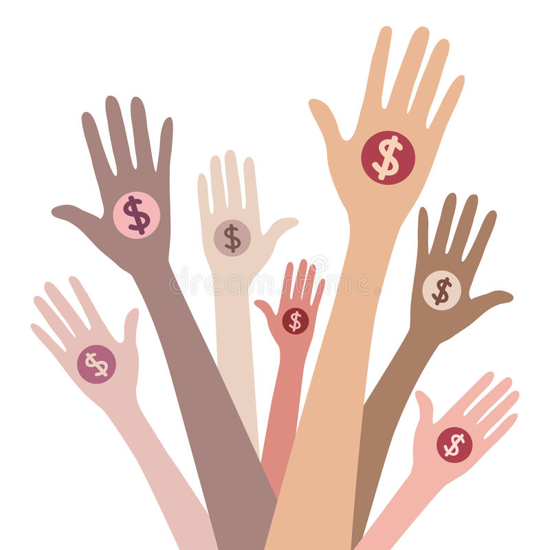 People giving money. Vector concept royalty free illustration