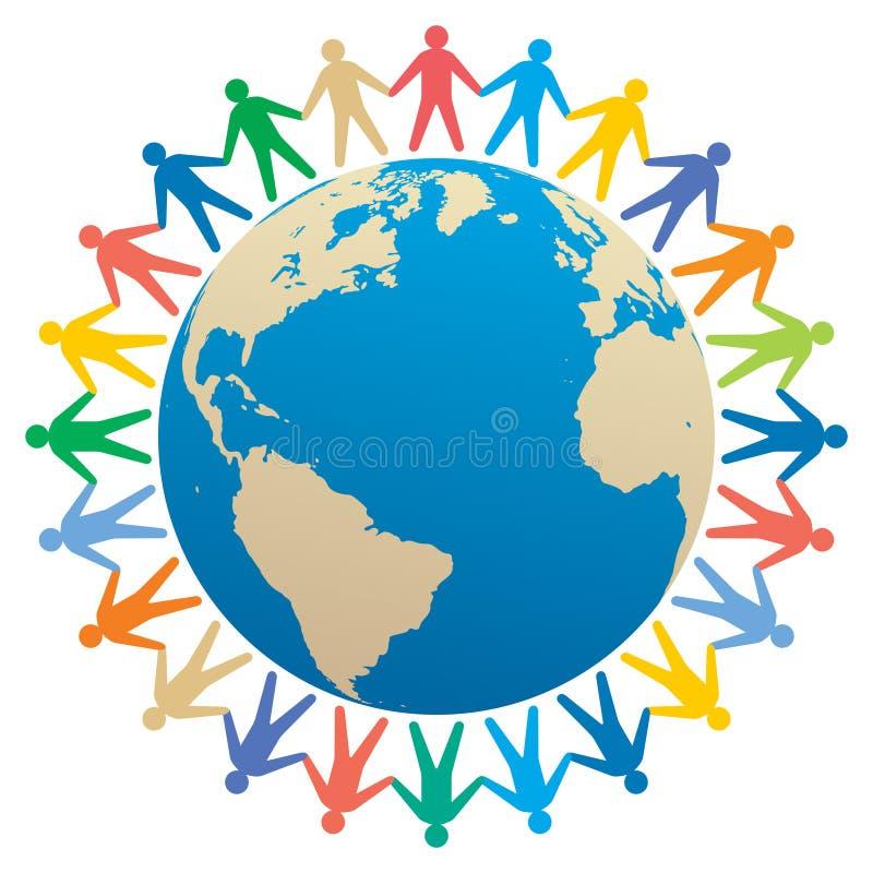 people & globe vector illustration