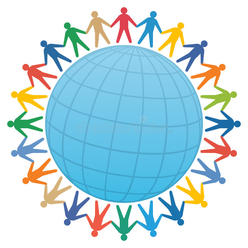 people & globe / color vector royalty free illustration