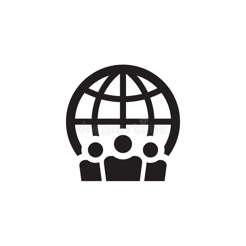 People and globe - web black icon design. Social media community concept sign. Teamwork friendship symbol. Vector illustration. vector illustration