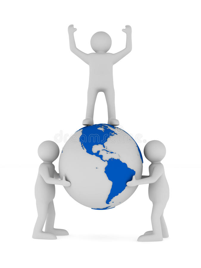 People And Globe On White Background Royalty Free Stock Photo