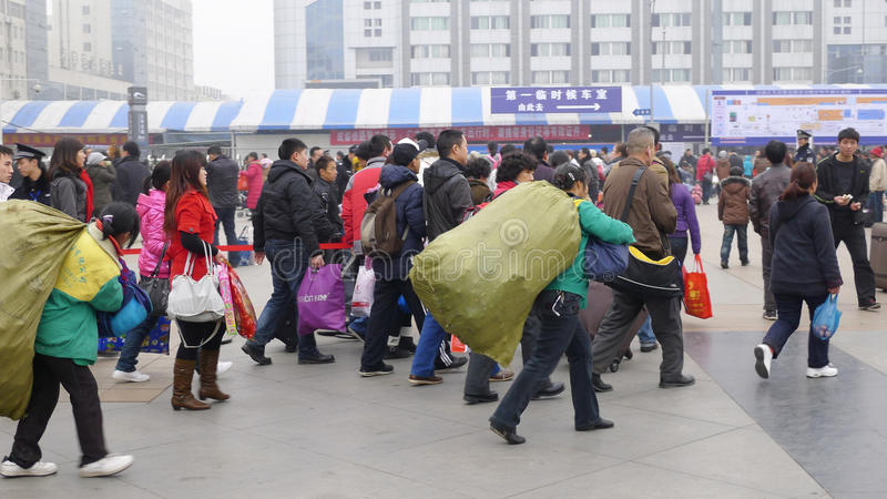 People go home during Chinese New Year royalty free stock photography