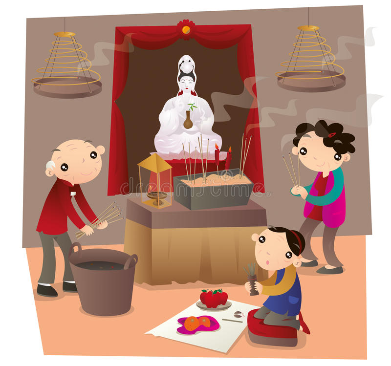 People go to Chinese temple and make worship vector illustration