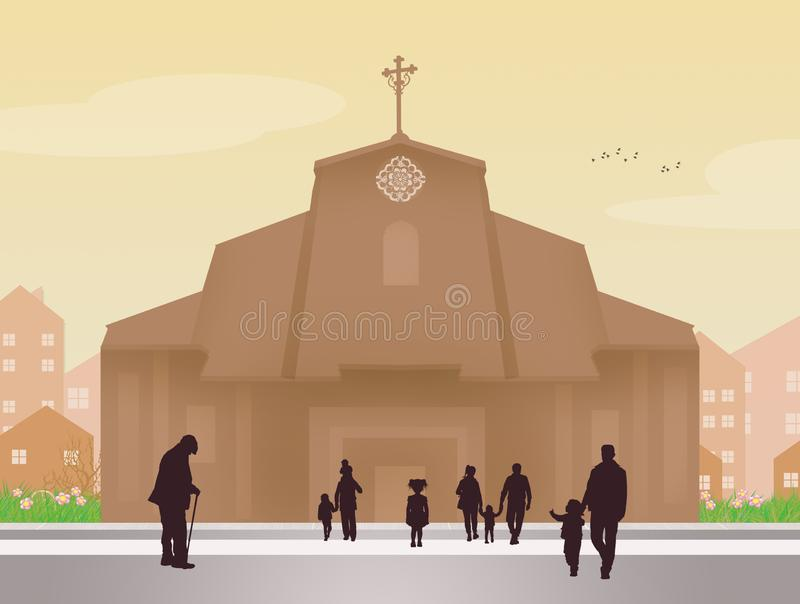 People go to church. Illustration of people go to church royalty free illustration
