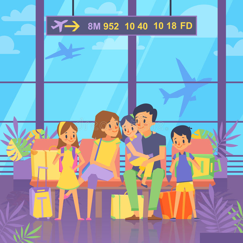 People goes to vacation. Sitting in airport terminal. Happy family couple with kids and baggage. Vector illustration stock illustration