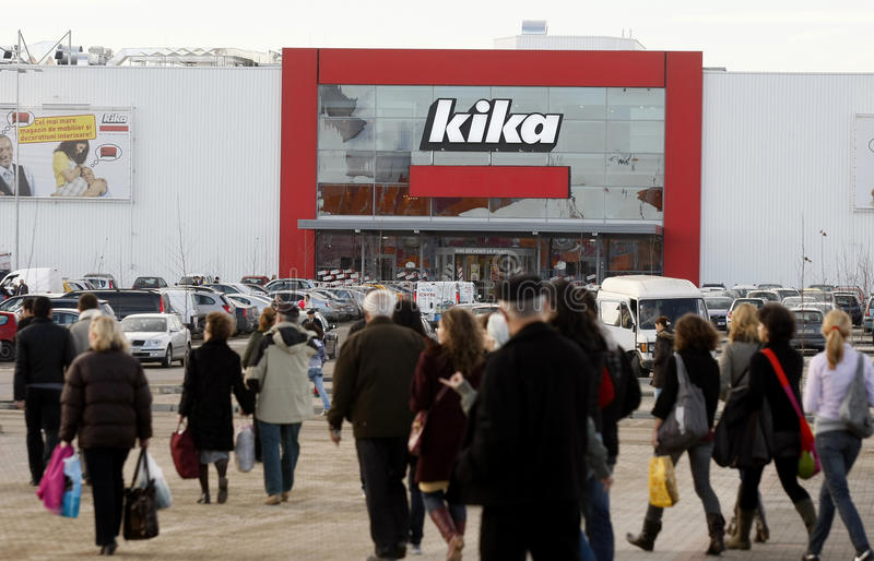 People going for shopping in Kika store stock photography