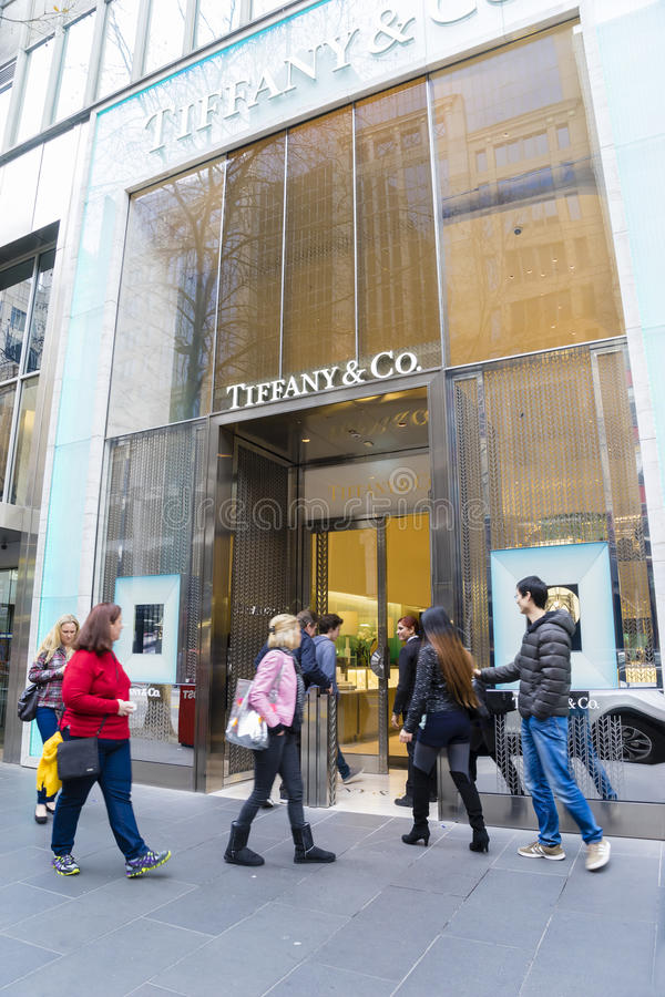 People going shopping in Tiffany & Co. in Melbourne, Australia royalty free stock images