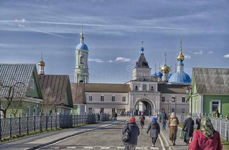 People going to the Easter service at the Church in Russia stock photography
