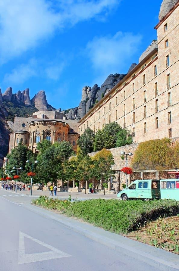 People are going to Montserrat Benedictine monastery stock image