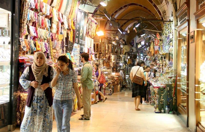 People in Grand Bazaar. Friday, April 9, 2010: People are walking in Grand Bazaar, in Istanbul, Turkey stock image