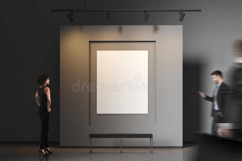 People in gray poster gallery royalty free stock image