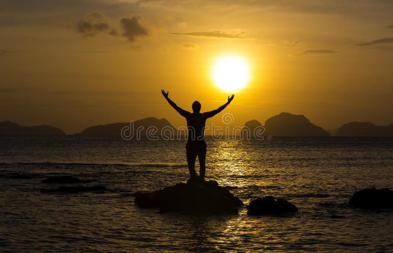 People greeted the dawn royalty free stock image
