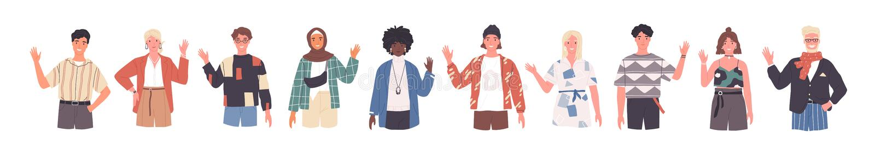 People greeting gesture flat vector illustrations set. Different nations representatives waving hand. Men, women in vector illustration