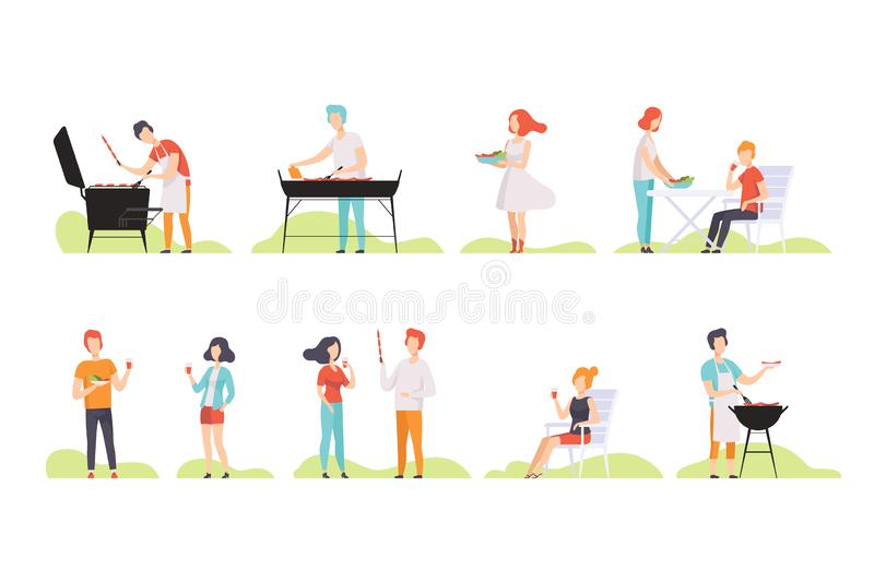 People grilling barbecue on a grill, men and women having outdoor bbq party vector Illustrations on a white background. People grilling barbecue on a grill, men vector illustration
