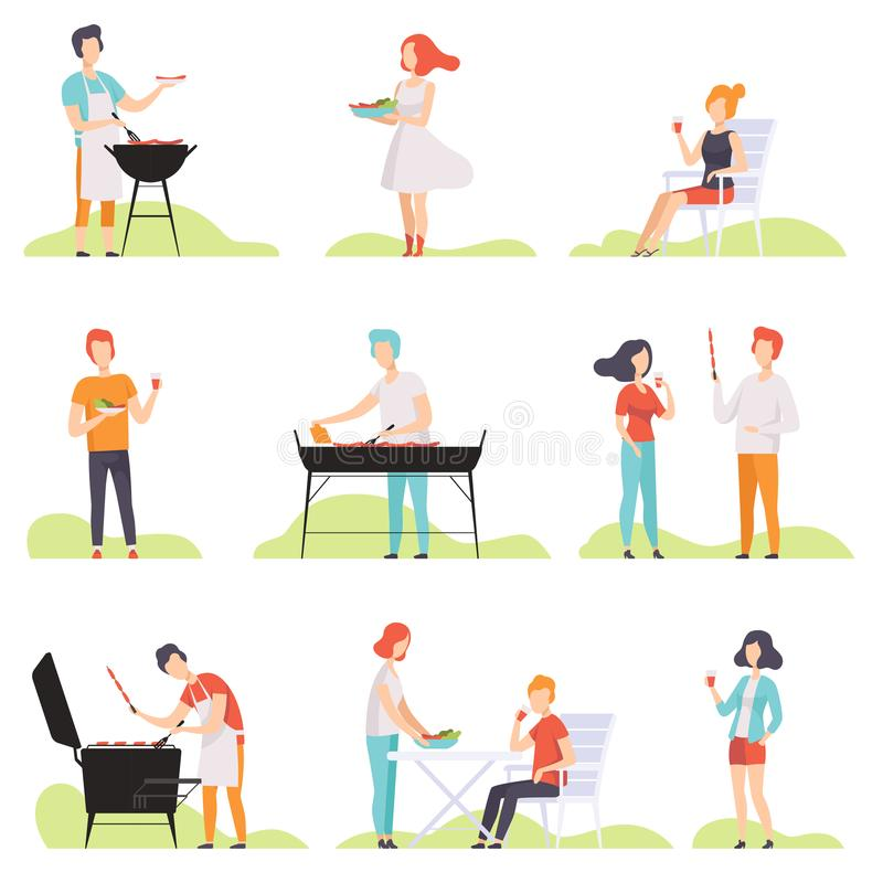 Free People Grilling Barbecue On A Grill, Men And Women Having Outdoor Bbq Party Vector Illustrations On A White Background Royalty Free Stock Photo - 124420135