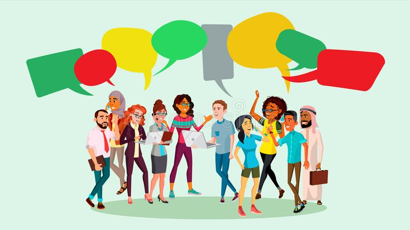 People Group Chat Vector. Businesspeople Discussing. Brainstorming. Talking Communication. Speech Bubbles. Illustration stock illustration