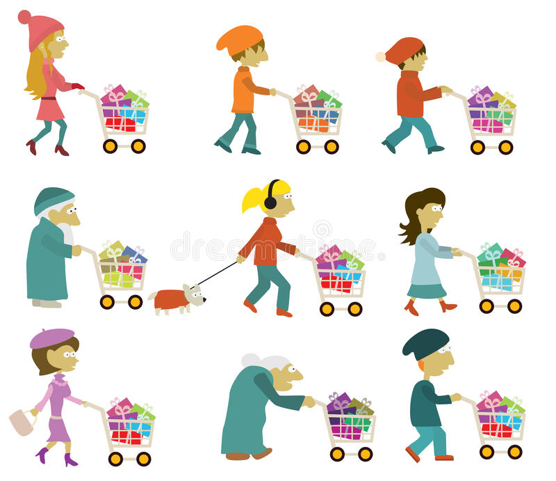People group (Christmas shopping) stock illustration