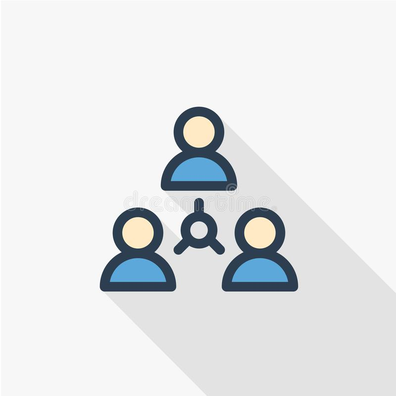People group, community, network thin line flat color icon. Linear vector symbol. Colorful long shadow design. stock illustration