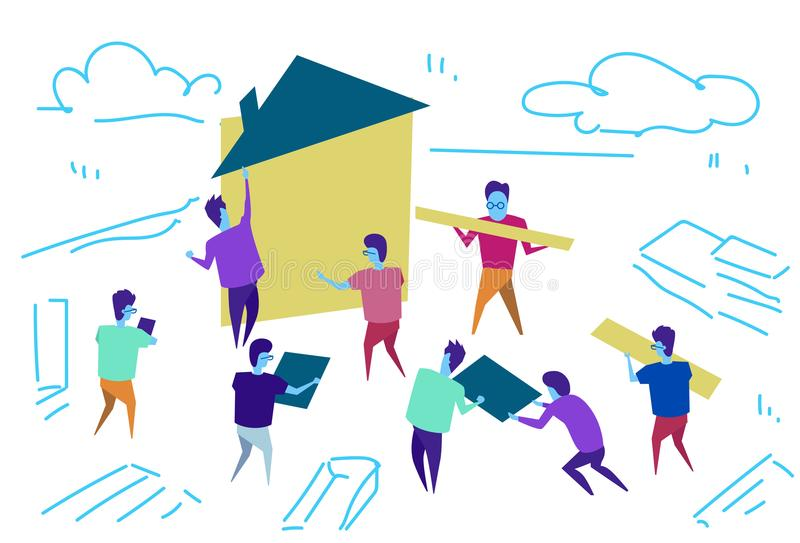 People group construction house workers team building process teamwork concept horizontal sketch doodle stock illustration
