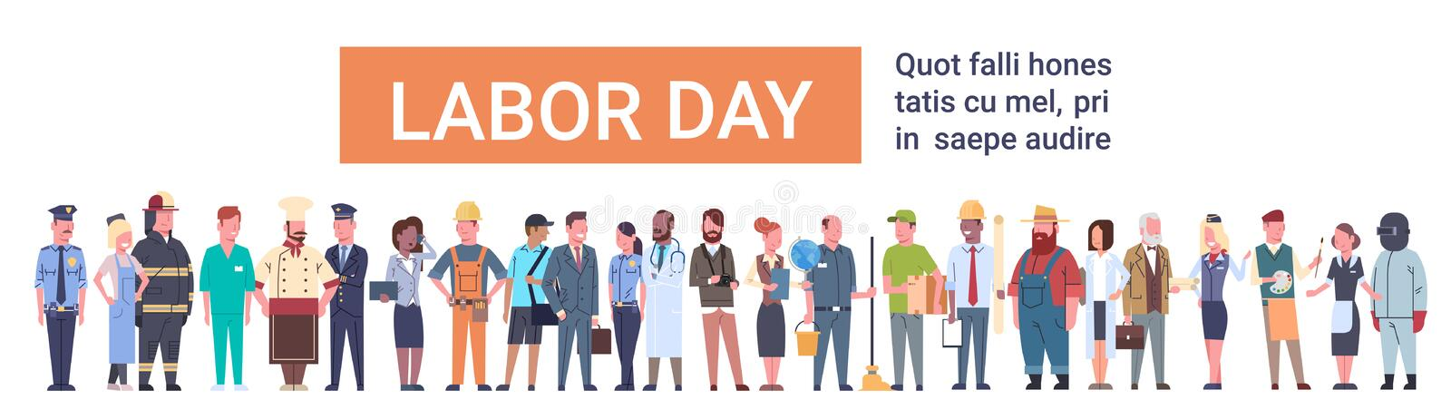 People Group Different Occupation Set, International Labor Day royalty free illustration
