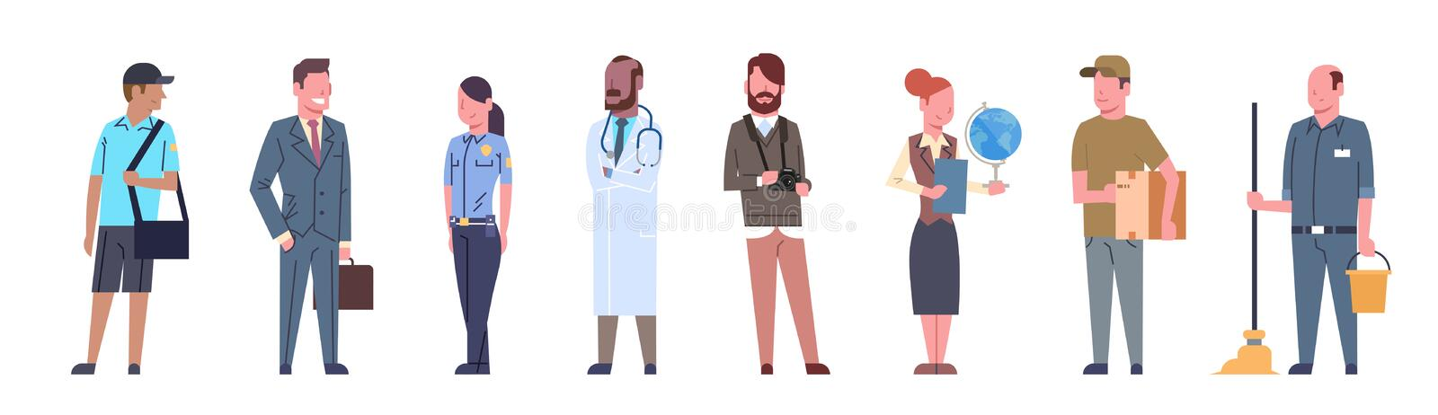 People Group Different Occupation Set Workers Profession Collection Stock Vector - Illustration of girl, design: 96982757