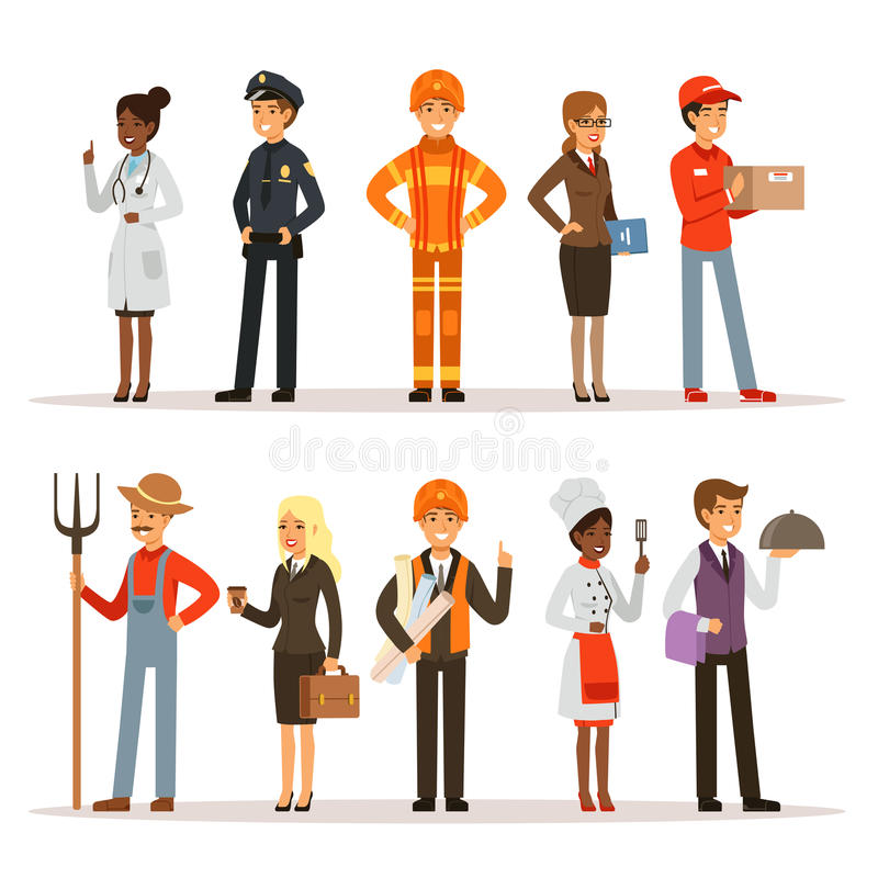 People group in different professions. Fireman, doctor and teacher. Builder, policeman and courier. Vector characters in vector illustration