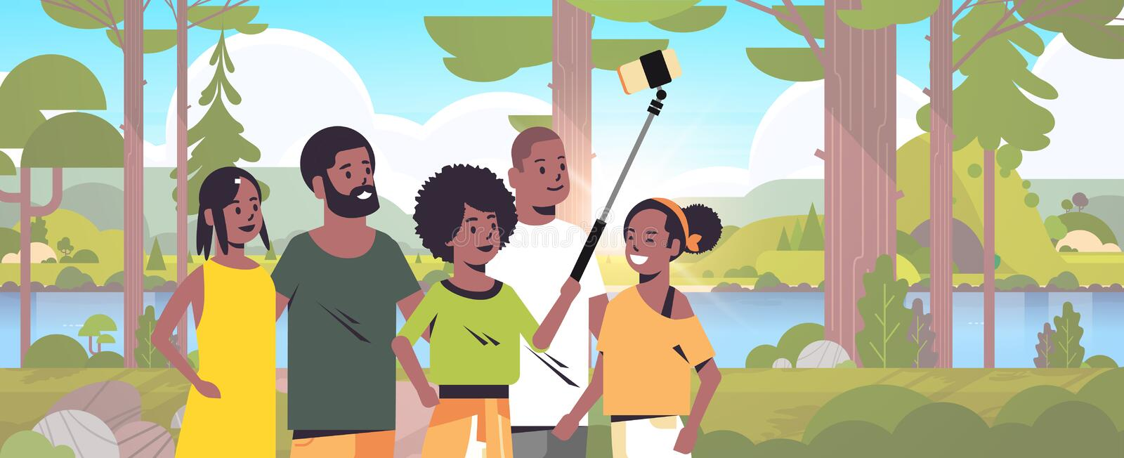 People group in forest using selfie stick taking photo on smartphone camera hiking concept african american friends stock illustration