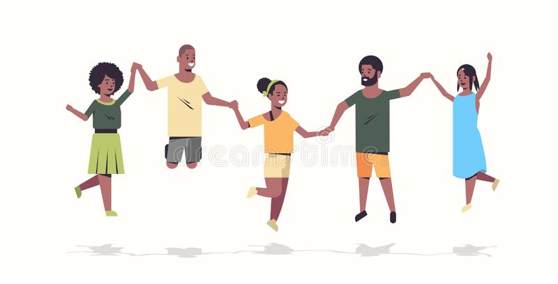 People group holding hands african american men women jumping together friends having fun male female cartoon characters. Full length flat white background vector illustration