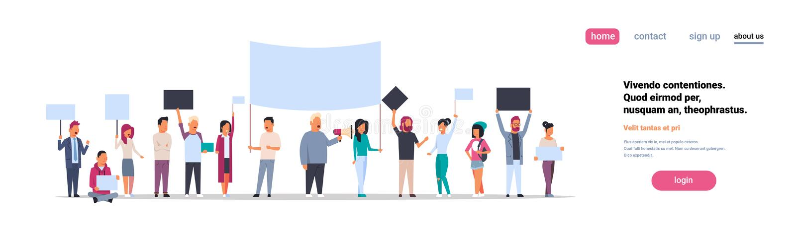 People group holding placards and megaphone cityscape background protesting crowd demonstration picket or conflict. Concept isolated horizontal copy space royalty free illustration